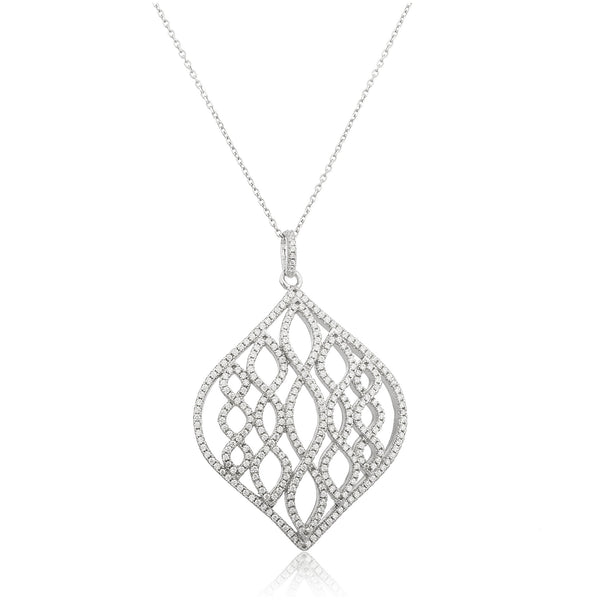 Real 925 Sterling Silver Teardrop Design Pendant With Clear Cz Stones And An 18 Inch Anchor Necklace