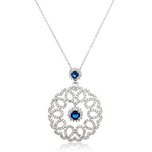 Real 925 Sterling Silver Teardrop Pendant With Cz Stones, Dangling Blue Simulated Pearls And An 18 Inch Anchor Necklace
