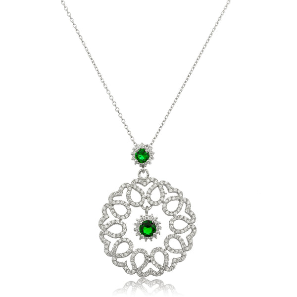 Real 925 Sterling Silver Teardrop Pendant With Cz Stones, Dangling Green Simulated Pearls And An 18 Inch Anchor Necklace