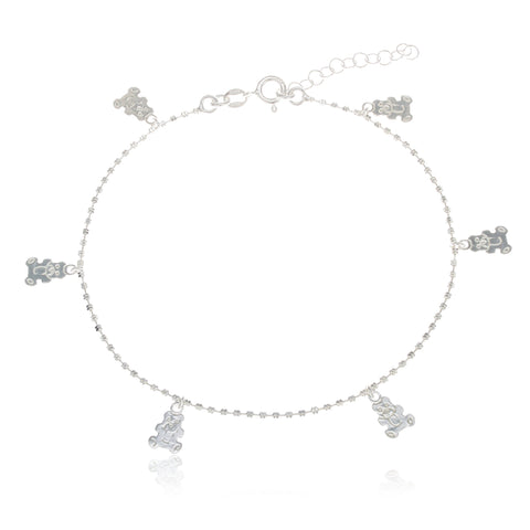 Real 925 Sterling Silver Teddy Bear Charmed 10 Inch Anklet