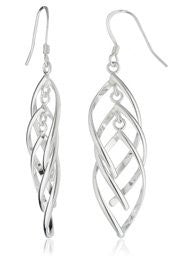 Real 925 Sterling Silver Triple Eye Shaped Design Dangle Earrings