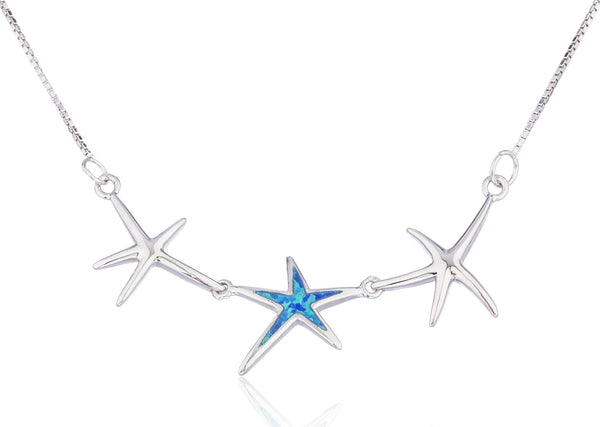 Real 925 Sterling Silver Triple Star With Created Opal 18 Inch Box Necklace (Blue)