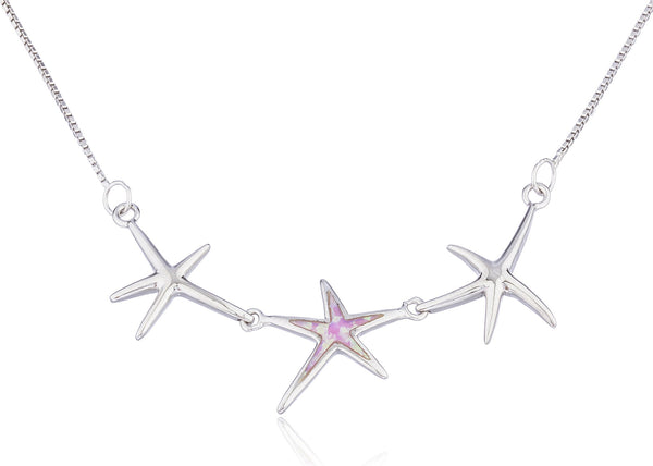Real 925 Sterling Silver Triple Star With Created Opal 18 Inch Box Necklace (Pink)