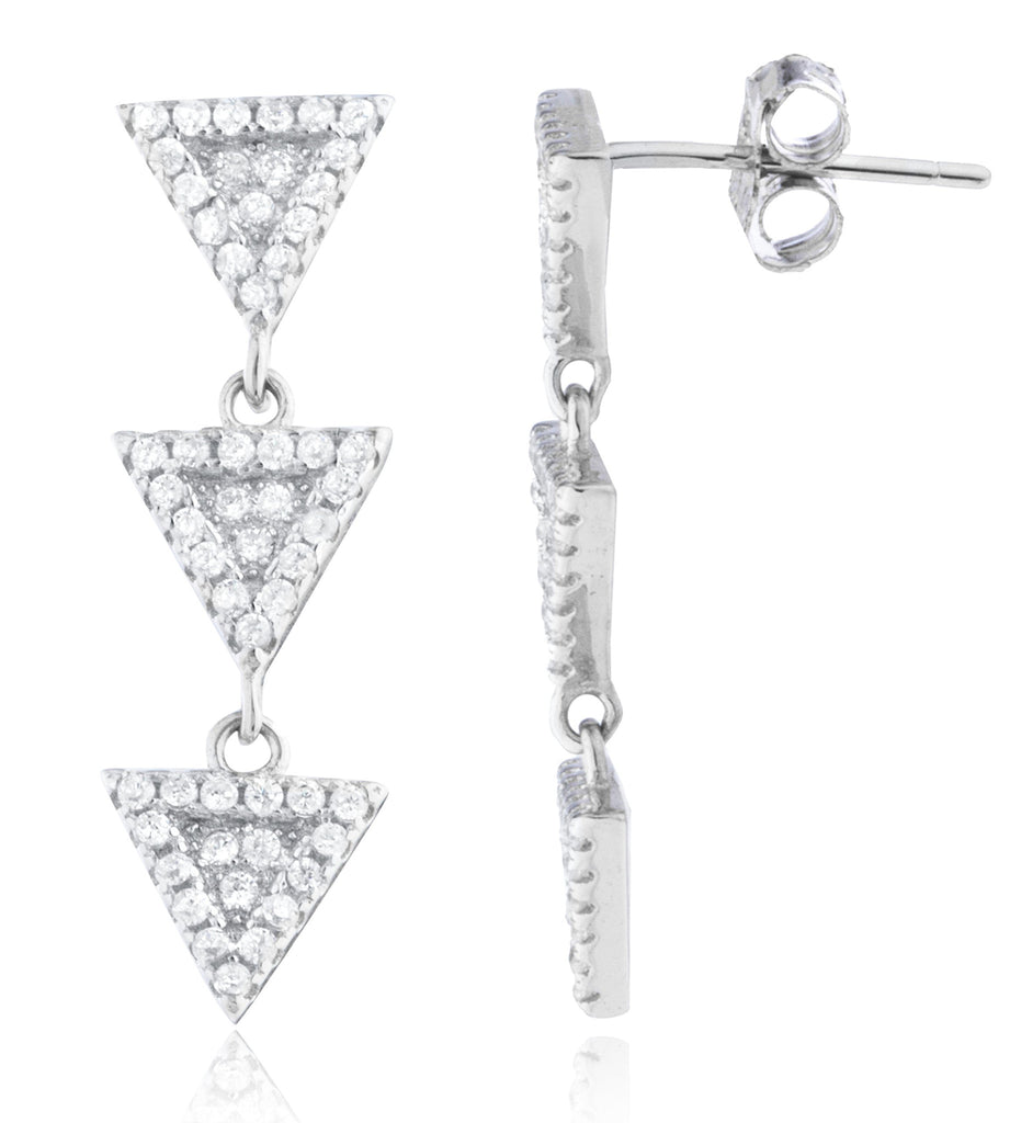Real 925 Sterling Silver Triple Triangle...