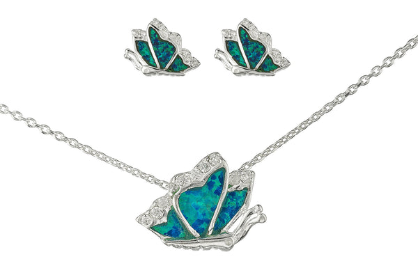 Real 925 Sterling Silver Turquoise Created Opal Butterfly Necklace With Matching Stud Earrings Jewelry Set