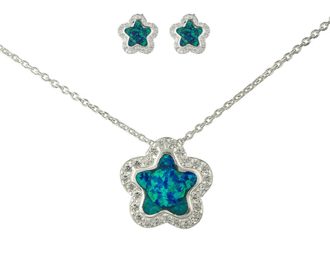 Real 925 Sterling Silver Turquoise Created Opal Star Necklace With Matching Stud Earrings Jewelry Set