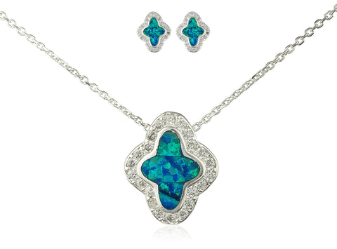 Real 925 Sterling Silver Turquoise Created Opal Twinkle Star Necklace With Matching Stud Earrings Jewelry Set