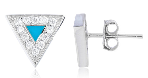Real 925 Sterling Silver Turquoise Triangle Stud Earrings With CZ Stones