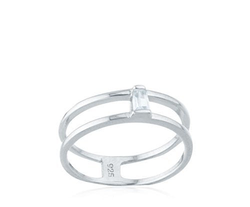 Real 925 Sterling Silver Two Row With CZ Stone Ring