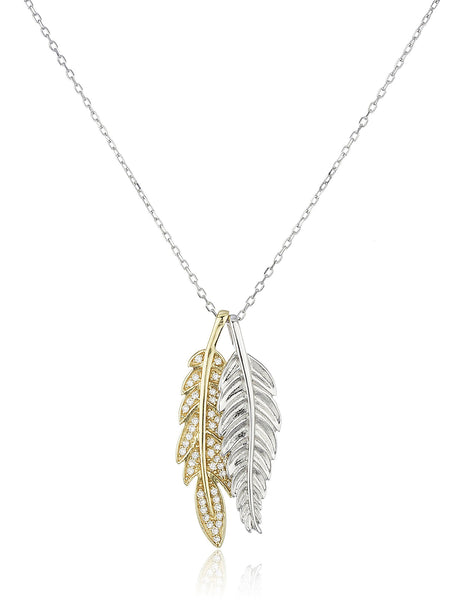 Real 925 Sterling Silver Two-tone Double Leaf Pendant With Cz Stones 19 Inch Link Necklace