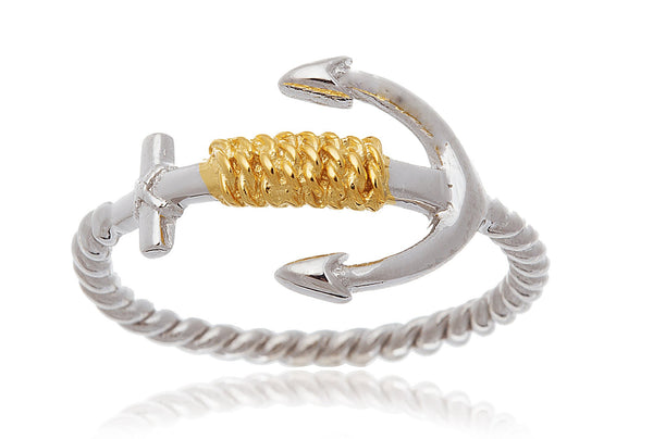 Real 925 Sterling Silver Two-tone Rope And Anchor Ring (6)