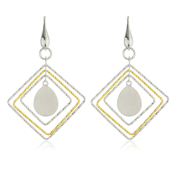 Real 925 Sterling Silver Twotone Fancy Layered Diamond Shape Dangle Earrings
