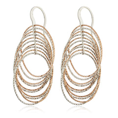 Real 925 Sterling Silver Twotone Fancy Layered Oval Dangle Earrings