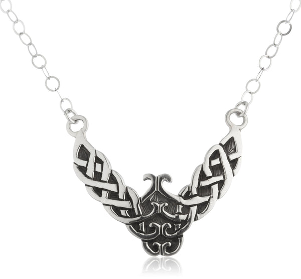Real 925 Sterling Silver Wing Shaped Celtic Knot Pendant 17 Inch Adjustable Necklace