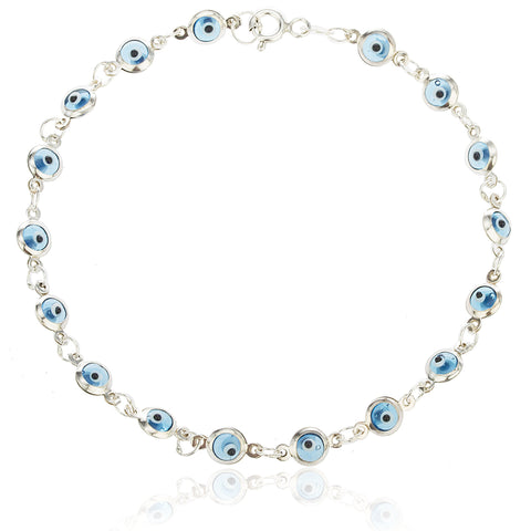Sterling Silver with Aqua Blue Evil Eye Bracelet
