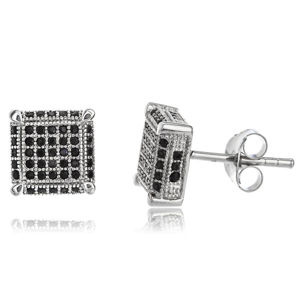 Real 925 Sterling Silver With Black And Clear Cz Stones 10mm Boxed Stud Earrings