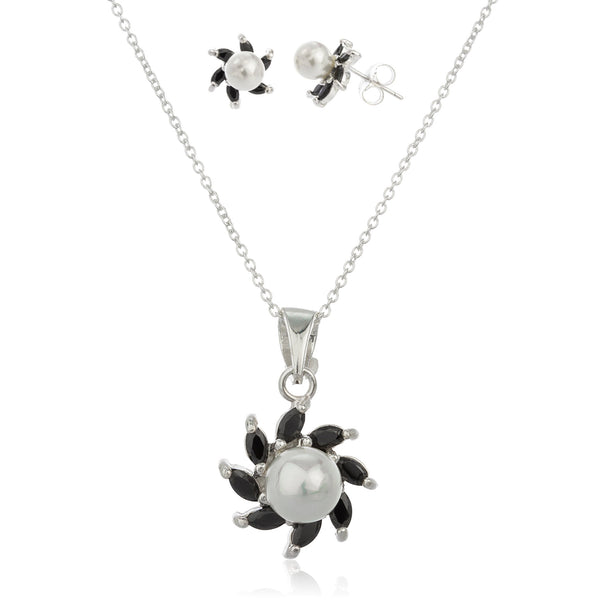 Real 925 Sterling Silver With Black Cz And Simulated Pearl Starfish Earrings And Pendant With An 18 Inch Necklace