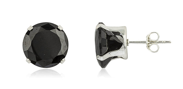 Real 925 Sterling Silver With Black Round Cubic Zirconia Four Prong Stud Earrings (10 Millimeters)