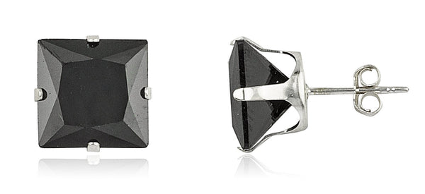 Real 925 Sterling Silver With Black Square Cubic Zirconia Four Prong Stud Earrings (10 Millimeters)