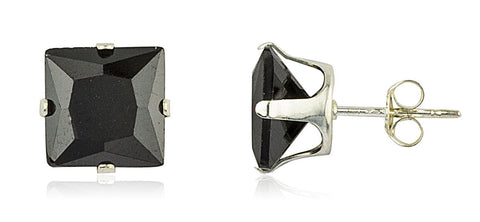 Real 925 Sterling Silver With Black Square Cubic Zirconia Four Prong Stud Earrings (8 Millimeters)
