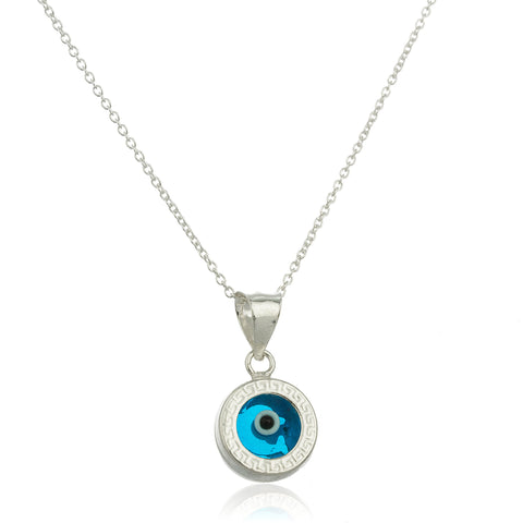 Real 925 Sterling Silver With Blue Evil Eye Charm Pendant With An 18 Inch Link Necklace