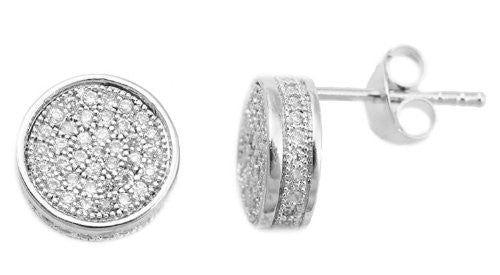 Real 925 Sterling Silver With Clear 3D 10mm CZ Pave Round Stud Earrings