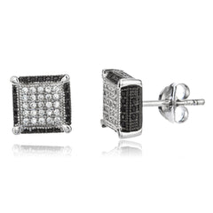 Real 925 Sterling Silver With Clear And Black Outline Cz Stones 10mm Boxed Stud Earrings