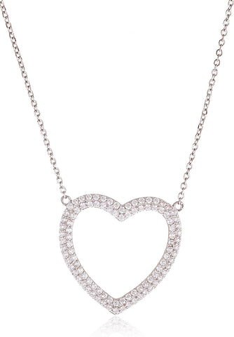 Real 925 Sterling Silver With Clear Cz Heart Pendant And 16 Inch Necklace
