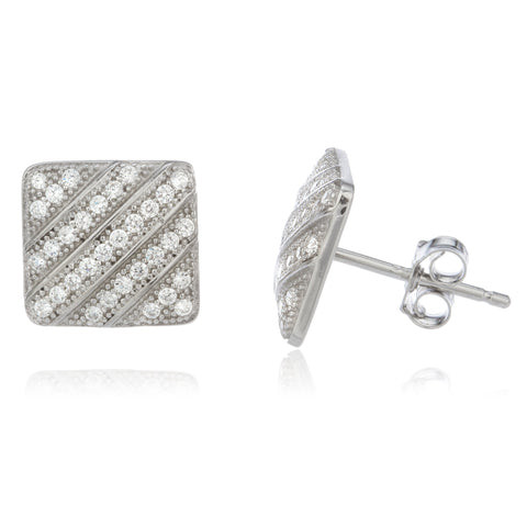 Real 925 Sterling Silver With Clear Cz Stones 10 Mm Hollow Style Boxed Stud Earrings