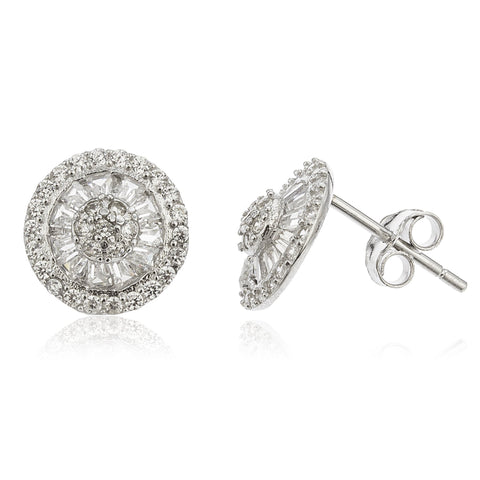 Real 925 Sterling Silver With Clear Cz Stones 10 Mm Round Stud Earrings
