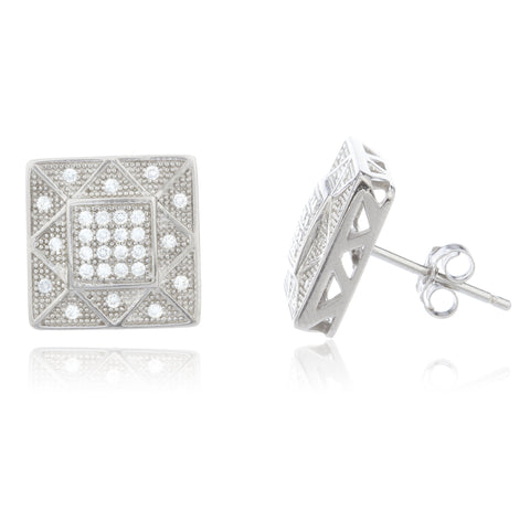 Real 925 Sterling Silver With Clear Cz Stones 15 Mm Hollow Style Boxed Stud Earrings