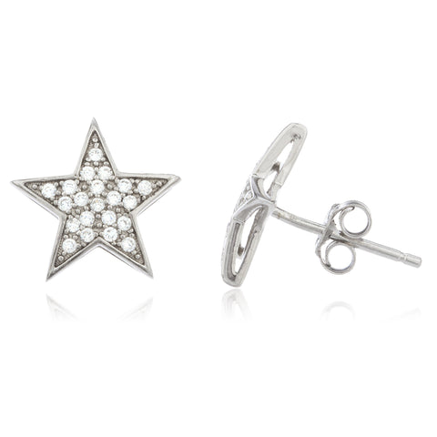 Real 925 Sterling Silver With Clear Cz Stones Star Shape 10 Mm Hollow Style Boxed Stud Earrings