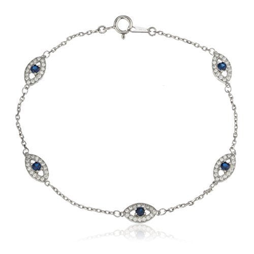 Real 925 Sterling Silver With Deep Blue Evil Eye Cz Charmed 7 Inch Bracelet