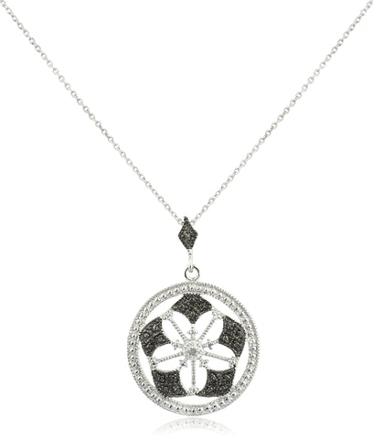 Real 925 Sterling Silver With Diamond Accent Flower Pendant On An 18 Inch Necklace