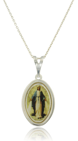 Real 925 Sterling Silver With Yellow Immaculate Conception Mary Pendant With An 18 Inch Link Necklace