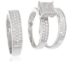 Real 925 Sterling Silver Womens And Mens Trio Engagement Rings Two Row With Cz Stones (Womens Size 8 With Mens Size 11)