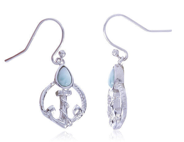 Real 925 Sterling Silver Wrapped Anchor With Created Larimar Stone Dangle Earrings
