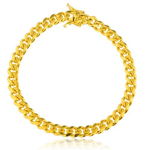 "Real 925 Sterling Vermeil 7mm Miami Cuban Chain - 9"" (9 Inches)"