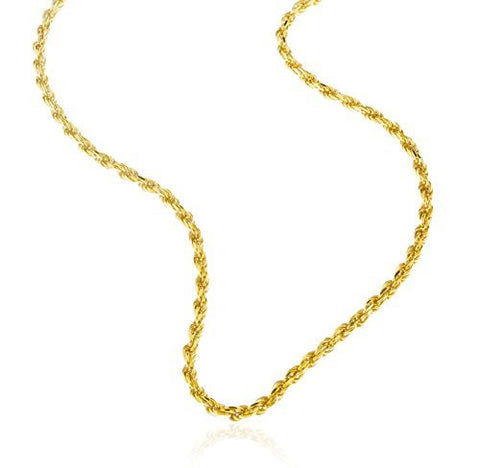 Real 925 Vermeil Sterling Silver 3mm Rope Chain Necklace - All Lengths Available
