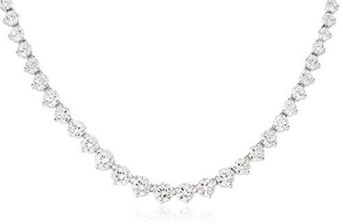 Real Ladies 925 Sterling Silver Cubic Zirconia 17 Inch Tennis Necklace