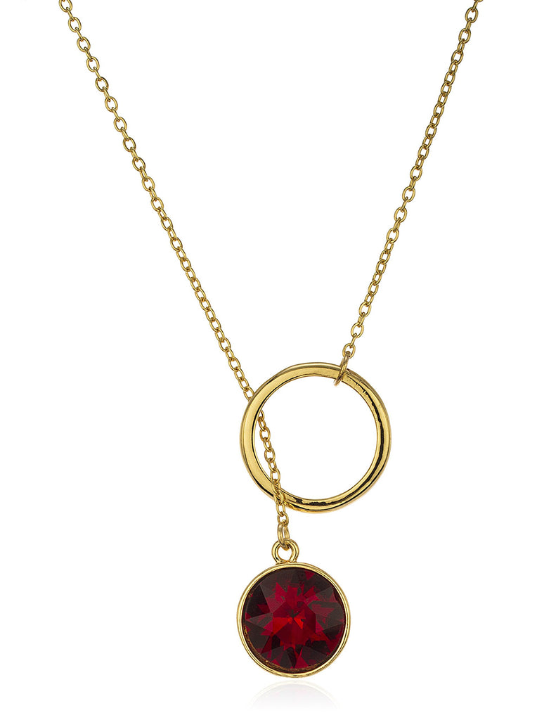 Red Stone Lariat Necklace