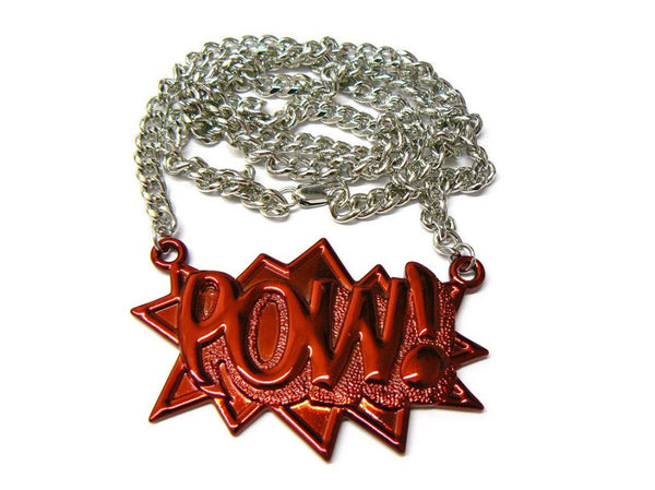 Red With Silvertone Zinc Pow! Pendant With A 36 Inch Link Chain Necklace