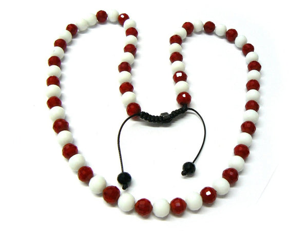 Red With White 24 Inch Cut 6mm Shamballa Glass Beaded Necklace Chain