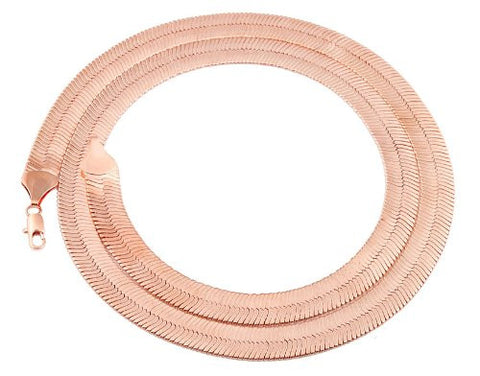 Rose Goldtone 11mm 30 Inch Herringbone Chain Necklace