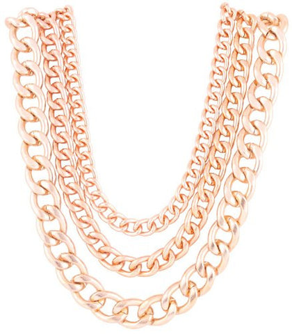 Rose Goldtone 20 Inch Adjustable Multi Chunky Cuban Chain Necklace