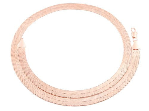 Rose Goldtone 9mm 24 Inch Herringbone Chain Necklace