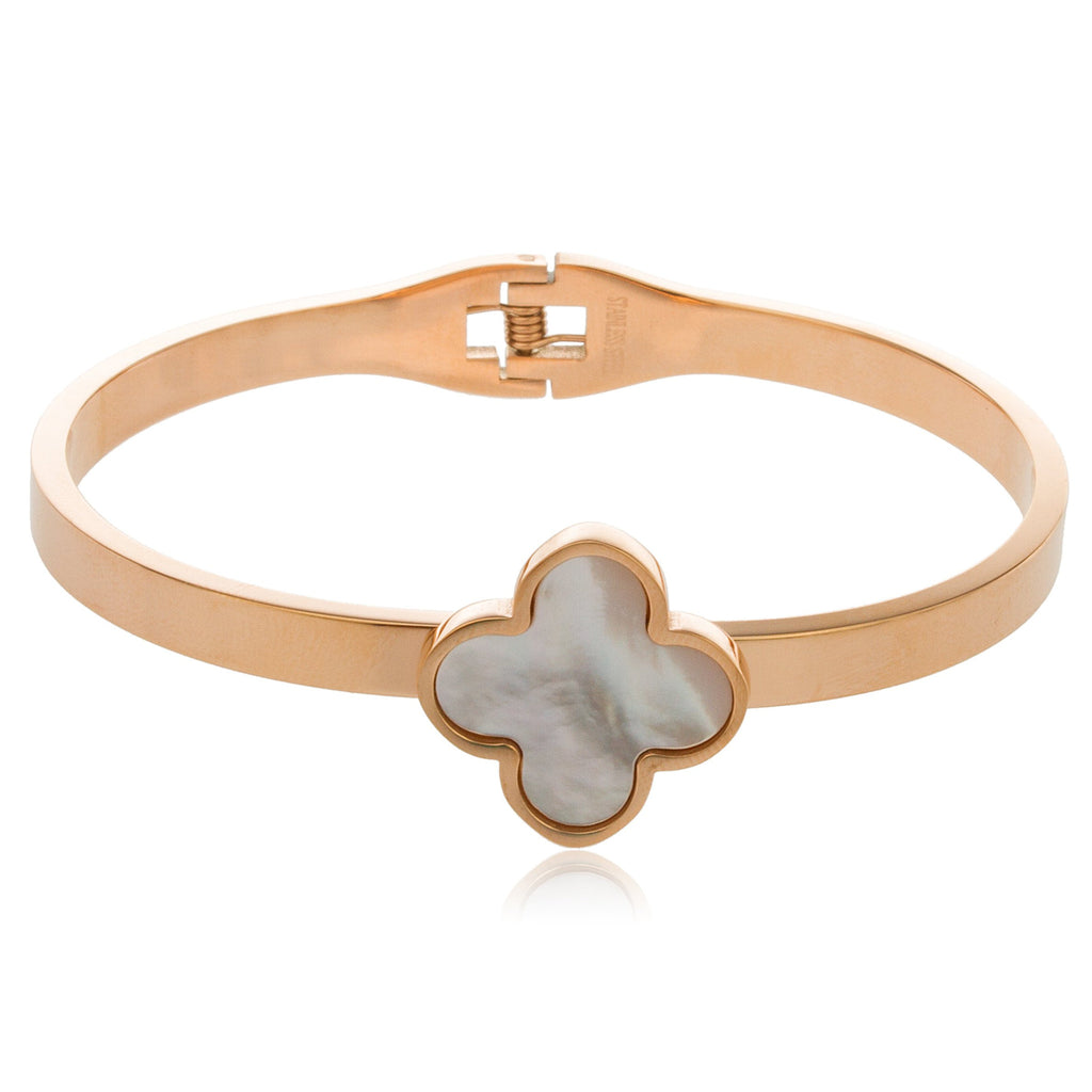 Rose Goldtone Stainless Steel Clover Bangle...
