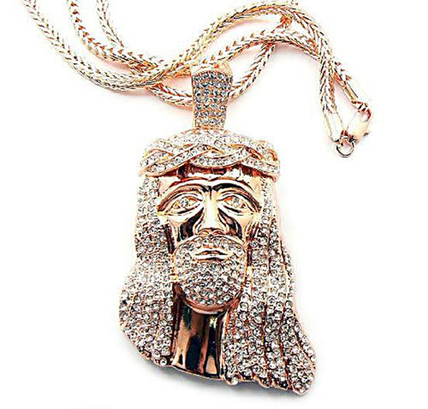 Rose Goldtone With Clear Iced Out Jesus Piece Pendant With A 36 Inch Franco Chain