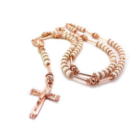 Rose Goldtone With White 39 Inch Glass Beaded Chain Jesus Rosary Cross Pendant With Prayer Hands Charm Necklace