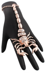 Rosegoldtone Scorpion Adjustable Finger Ring And Slave Hand Chain Bracelet One Size Fits All